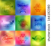 set of typographic new year and ... | Shutterstock .eps vector #166182380