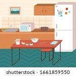 kitchen interior with... | Shutterstock .eps vector #1661859550