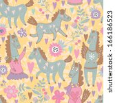 seamless pattern with funny... | Shutterstock .eps vector #166186523