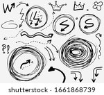 doodle vector arrows  crown ... | Shutterstock .eps vector #1661868739