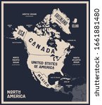 map north america. poster map... | Shutterstock .eps vector #1661881480
