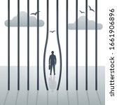 freedom concept. the prisoner... | Shutterstock .eps vector #1661906896