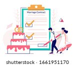 bride and groom signing... | Shutterstock .eps vector #1661951170