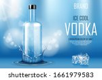 vodka bottle with ice cubes ad. ... | Shutterstock .eps vector #1661979583