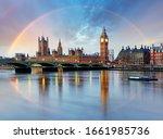 London With Rainbow   Houses O...