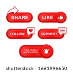 red button subscribe share like ...   Shutterstock .eps vector #1661996650