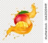 realistic mango juice splash... | Shutterstock .eps vector #1662020449