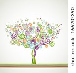 tree with round leaves | Shutterstock . vector #166202390