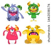 cute cartoon monsters. set of... | Shutterstock . vector #1662038176
