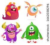 cute cartoon monsters. set of... | Shutterstock . vector #1662038296