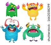 cute cartoon monsters. set of... | Shutterstock . vector #1662038299