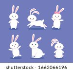 group of cute rabbits icons...   Shutterstock .eps vector #1662066196