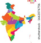 colorful india map of 2020... | Shutterstock .eps vector #1662076756