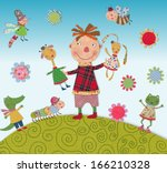 child playing with animals | Shutterstock . vector #166210328