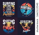 vintage colorful surfing prints ... | Shutterstock . vector #1662115540