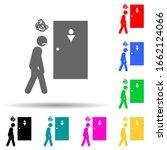 man  going  pee multi color...