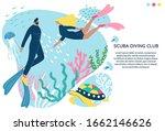 scuba diving club vector banner ... | Shutterstock .eps vector #1662146626