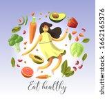 cartoon smiley and happy woman...   Shutterstock .eps vector #1662165376