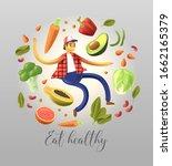 cartoon smiley and happy man...   Shutterstock .eps vector #1662165379