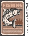 Salmon and trout fishing, fish catch and fisher equipment store retro vintage grunge poster. Vector fishery rods, tackles and lures, baits shop for river, sea and ocean fishing