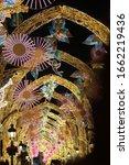 golden and pink christmas light ...   Shutterstock . vector #1662219436