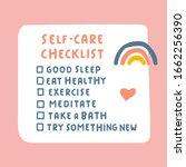 Self Care Checklist. Hand Drawn ...