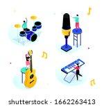 music party   modern isometric...   Shutterstock .eps vector #1662263413