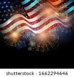 united states flag. fireworks... | Shutterstock . vector #1662294646