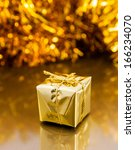golden boxes with christmas... | Shutterstock . vector #166234070