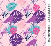 vector pattern with exotic palm ... | Shutterstock .eps vector #1662366559