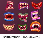 monster mouths. funny facial... | Shutterstock .eps vector #1662367393