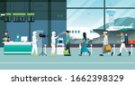 tourists by checking the virus... | Shutterstock .eps vector #1662398329