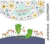 summer illustration with cute... | Shutterstock .eps vector #1662398689