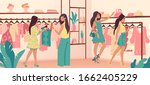 clothing store. stylish diverse ... | Shutterstock .eps vector #1662405229