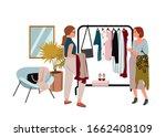 woman doing shopping flat...   Shutterstock .eps vector #1662408109