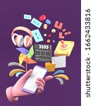hand holding smartphone.... | Shutterstock . vector #1662433816