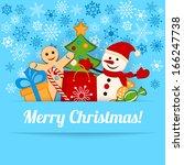 blue christmas card or... | Shutterstock .eps vector #166247738