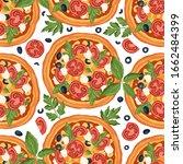 italian margherita cheese pizza ...   Shutterstock .eps vector #1662484399