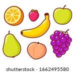 cute cartoon fruit doodle set....   Shutterstock .eps vector #1662495580