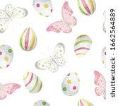 watercolor easter seamless... | Shutterstock . vector #1662564889
