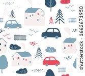 cute houses seamless pattern.... | Shutterstock .eps vector #1662671950