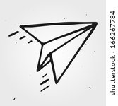 vector paper airplane isolated  ... | Shutterstock .eps vector #166267784