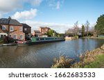 Narrowboat Moored On A Canal...