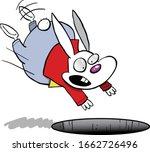 white rabbit jumping scared in... | Shutterstock .eps vector #1662726496