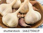 Heads Of White Garlic Close Up...