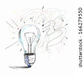 sketch image of electric bulb.... | Shutterstock . vector #166279550