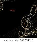 golden music background | Shutterstock .eps vector #166283510