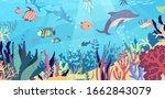 underwater world in the ocean.... | Shutterstock .eps vector #1662843079
