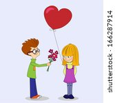lover boy is giving flower to... | Shutterstock .eps vector #166287914