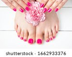 Pink Manicure And Pedicure With ...